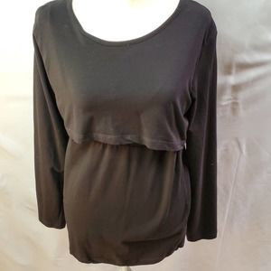 Luvmabelly Women's XL Black Layered Maternity Top